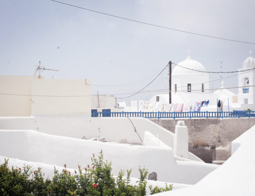 Megalochori, a village in the south of the greek island of Santorini
