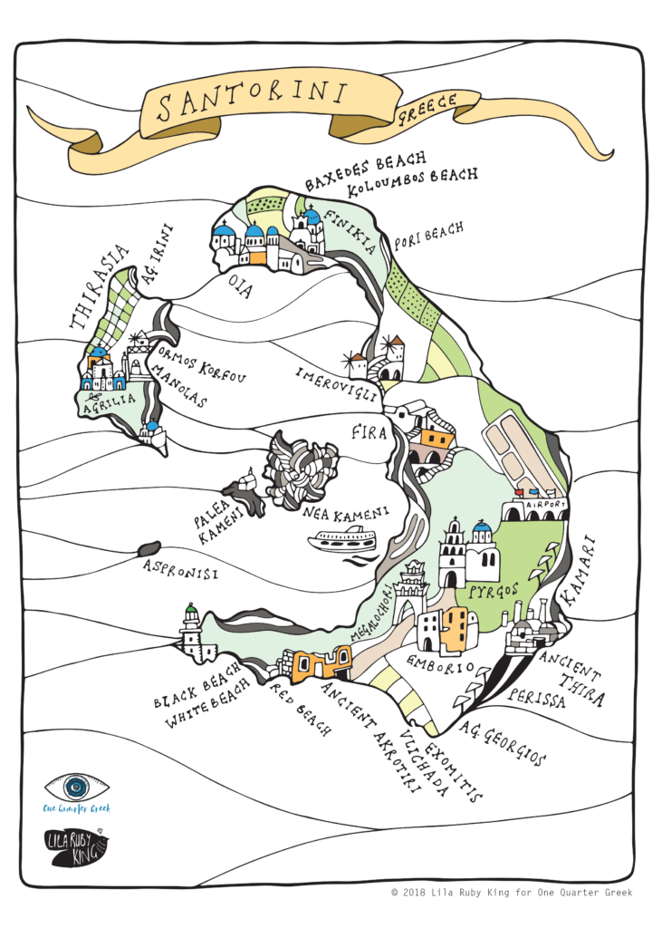 Santorini Map One Quarter Greek