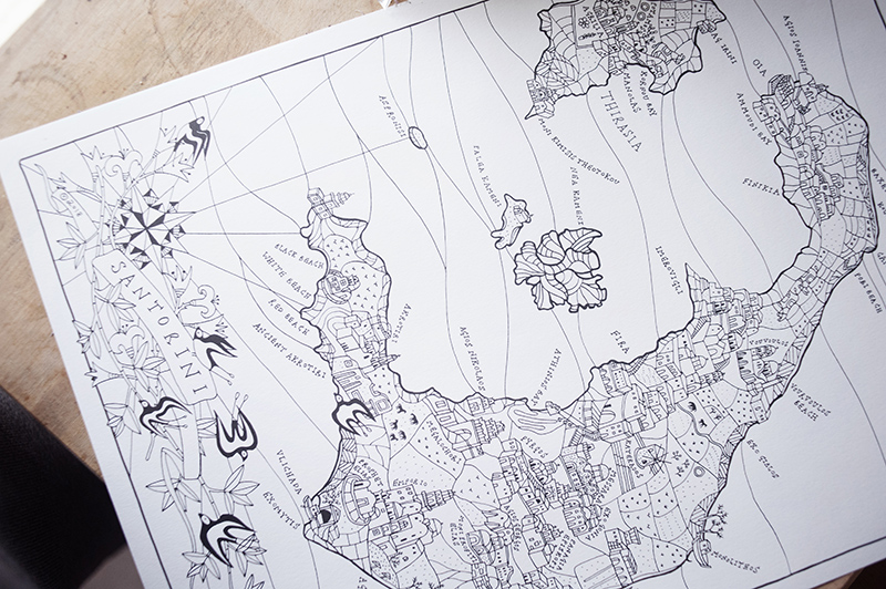 Map of Santorini designed by hand by Lila Ruby King