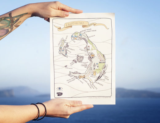 Handmade map of Santorini designed by Lila Ruby King