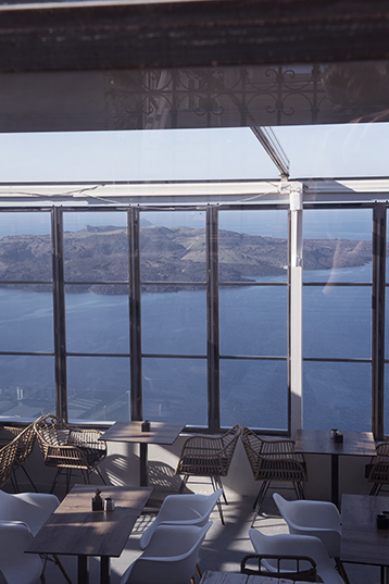 Cafe on the caldera in Fira, Santorini