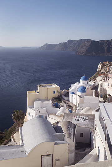 Oia, the most famous village of Santorini, on a winter day