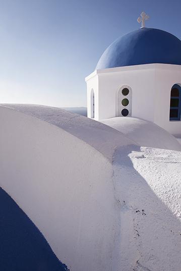 Blue dome detail of a church in Oia, Santorini