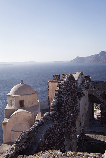 The Castle of Oia, Santorini, on a winter day
