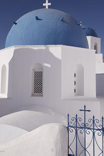 Detail of a church in Oia, Santorini