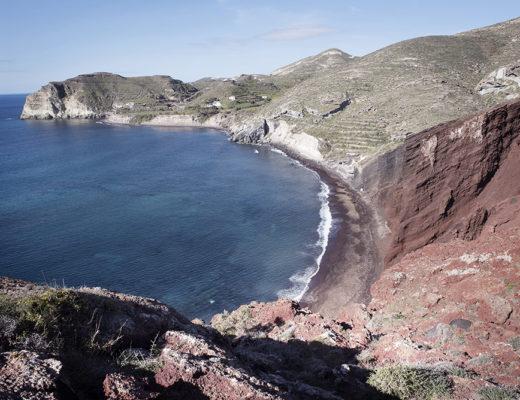 Panoramic view of the Red Beach of Santorini